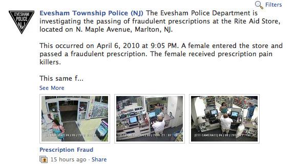 Evesham, NJ police Facebook page