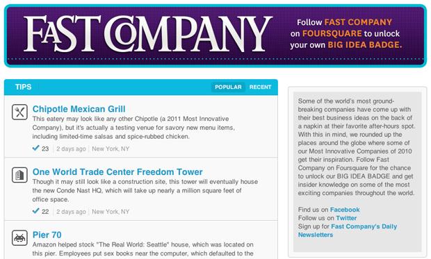 Fast Company foursquare page