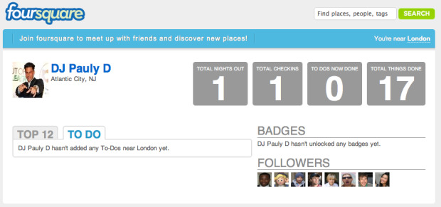 Foursquare's Celebrity Mode Allows You to Avoid DJ Pauly D