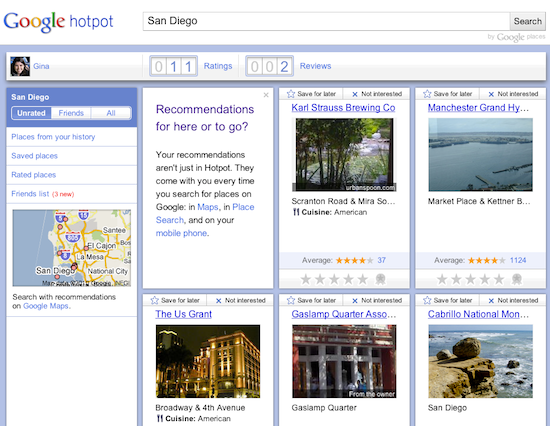 Google hotpot powers local recommendations watch out yelp click on one of six stars at the bottom of each card to rate it something from hated it to best ever when you do the card flips over and you can reheart Choice Image
