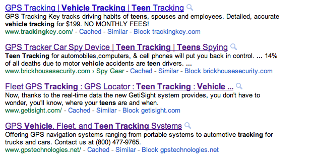 Google GPS tracking search results
