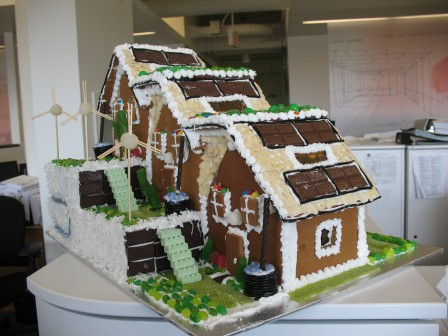 green gingerbread houses