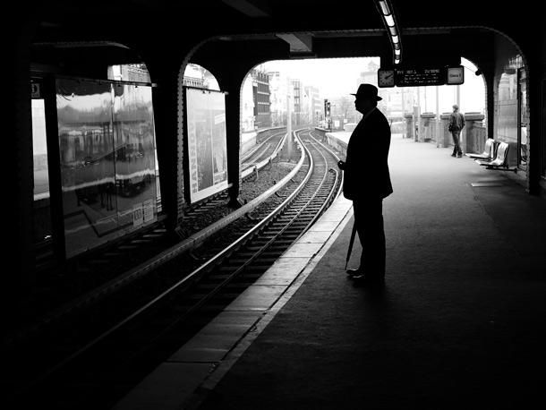 Man on a train platform