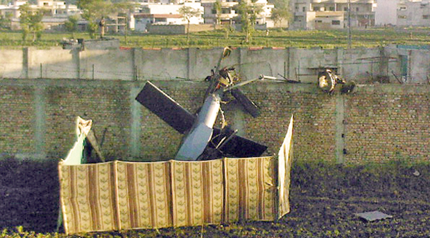 Wrecked helicopter from Bin Laden raid