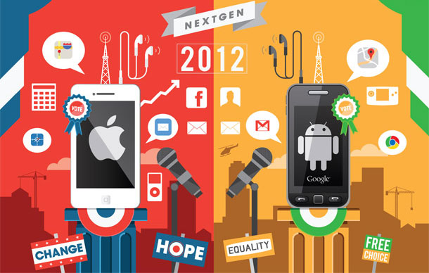 iPhone vs. Android | Illustration by I Love Dust