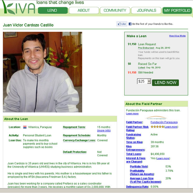 Kiva student loan program