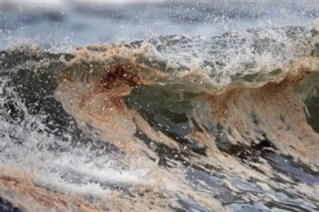 oil spill in waves