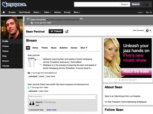 new MySpace interface