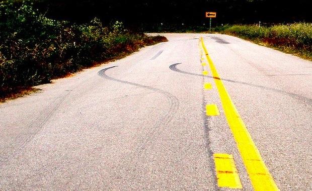 skids on road