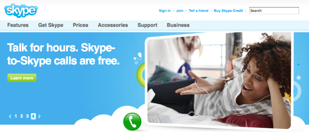 Skype homepage