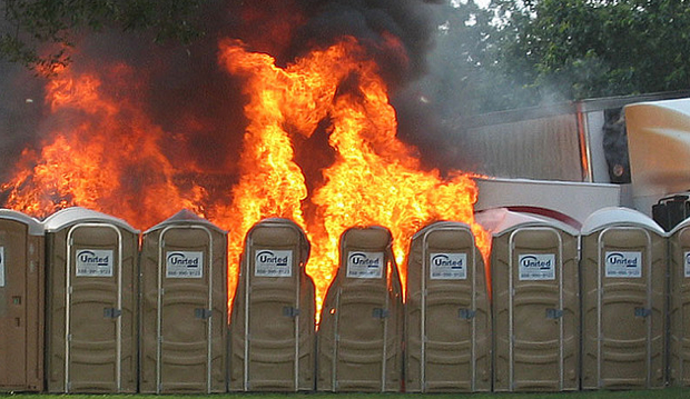 burning porta potties