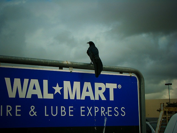 crow on Walmark sign