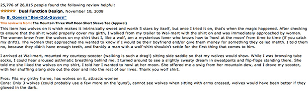 10 more of the best amazon reviews ever for Amazon review wolf shirt