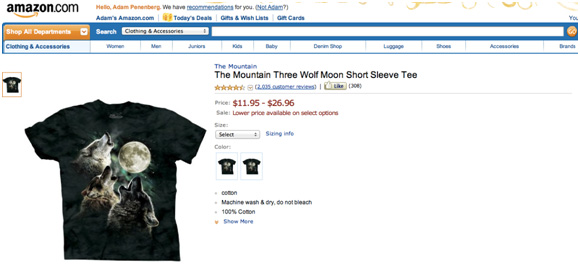 """bfa39106e10 Overlook1977 views The Mountain Three Wolf Moon Short Sleeve Tee as a  """"great compliment for my skin art""""  """"Unfortunately I already had this exact  picture ..."""