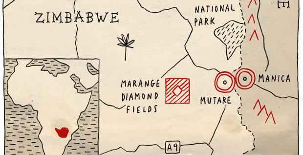 Zimbabwe diamond map