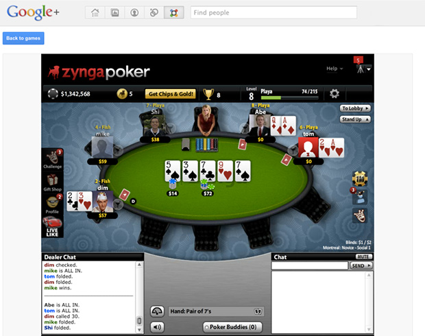 Zynga Poker on Google+